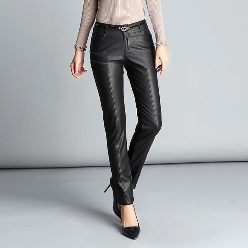 PU Leather Mid Waist Pants Women Sexy Hip Fashion Autumn Winter Pencil Pants Legging Jegging - My Web Store Shopping
