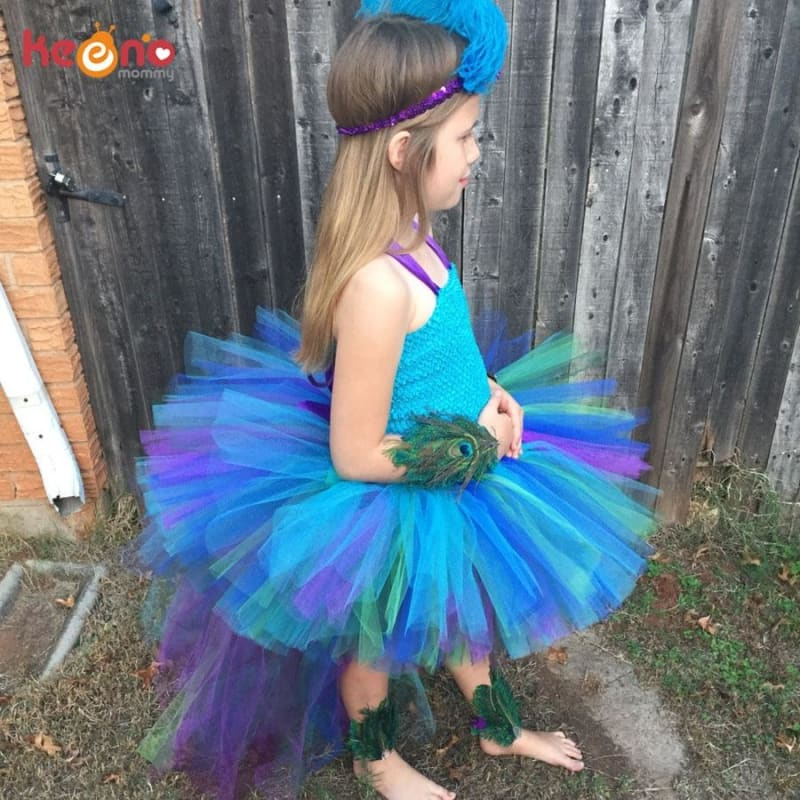 Peacock Tutu Dress For Girls Pageant Birthday Party Ball Gown Baby Girls Peacock Vestidos Children - My Web Store Shopping