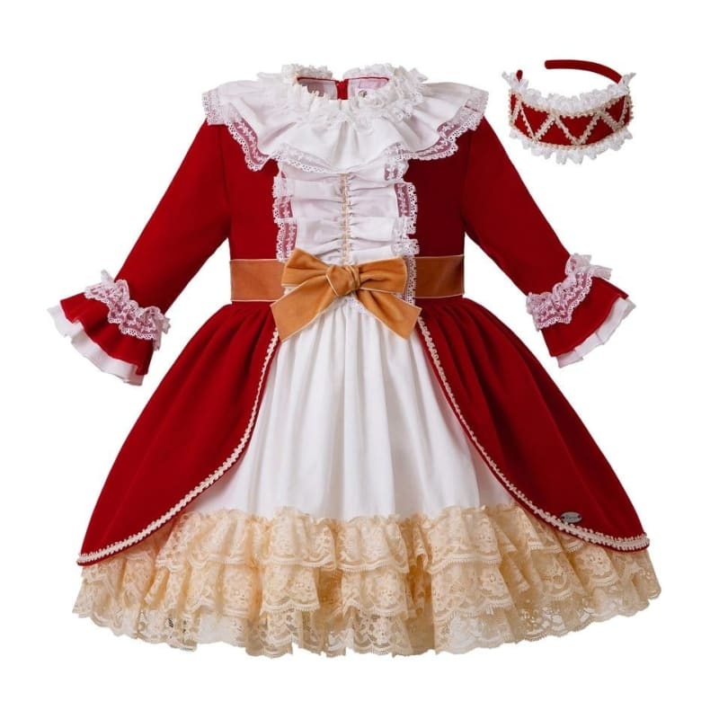 Pettigirl Christmas Red Girls Dresses with Headwear Autumn & Winter Princess Lace Dress with Bow for - My Web Store Shopping