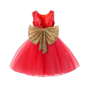 Load image into Gallery viewer, Pink Backless Princess Gold Bow Baby Dress for Girl 1st Birthday Party Newborn Gift Infant Tutu - My Web Store Shopping