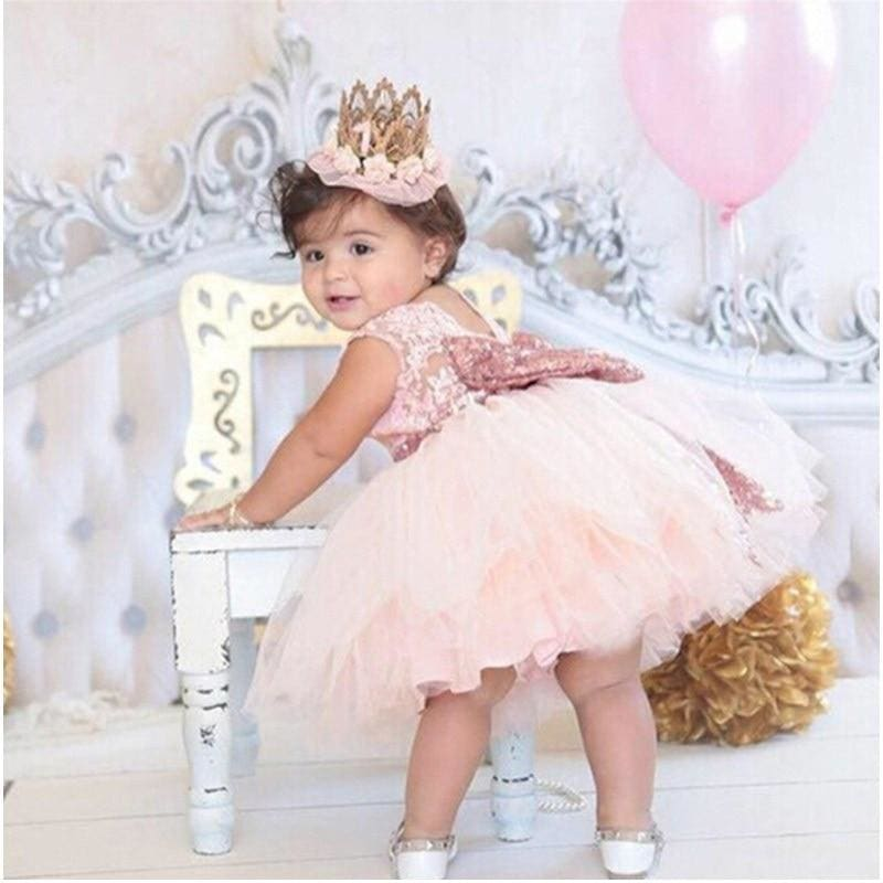 Pink Backless Princess Gold Bow Baby Dress for Girl 1st Birthday Party Newborn Gift Infant Tutu - My Web Store Shopping