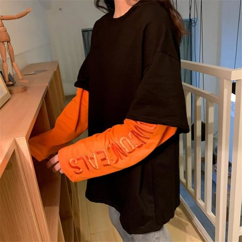 Plus Size Oversized Patchwork Orange Long Sleeve Embroidery Contrast Streetwear Hip Hop T-shirt T Shirt Men Tshirt Harajuku Tee - My Web Store Shopping