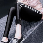 Plus Size Winter Warm Velvet Skinny Black Sport Leggings Women Side Striped Faux Leather Thick - My Web Store Shopping