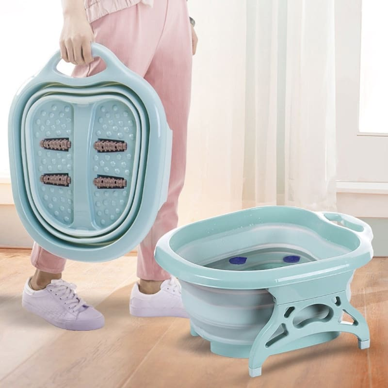 Portable Folding Travel Foot Wash Basin Feet Spa Bubbling Massage Wheel Bath-Tub Household Foot - My Web Store Shopping
