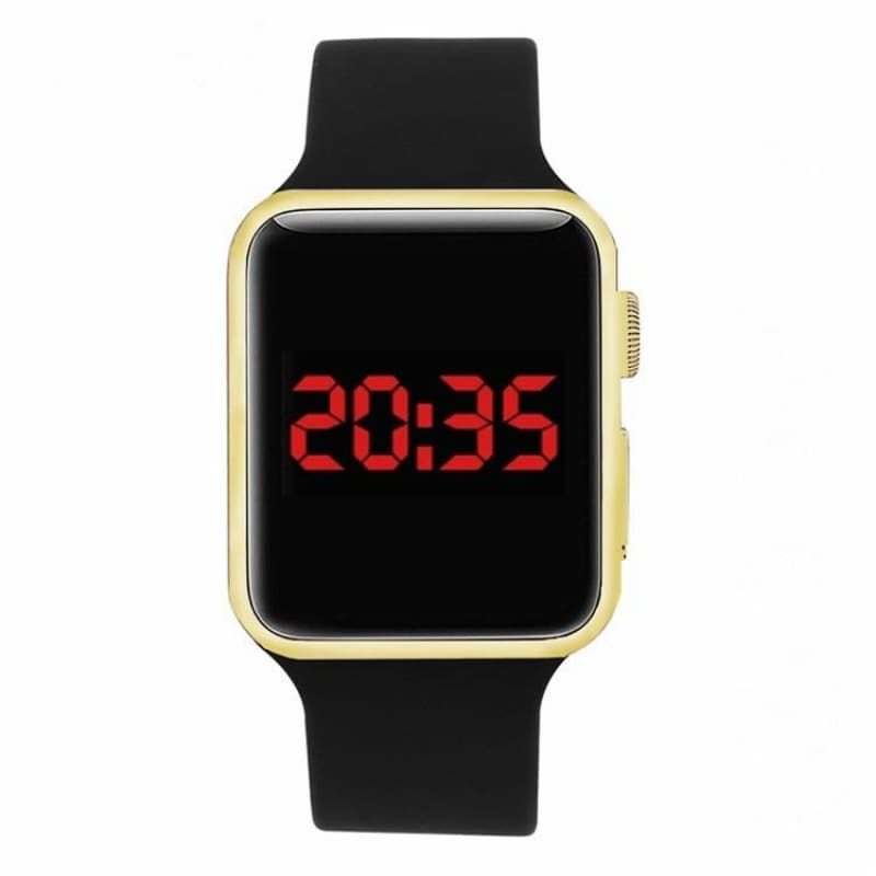 Red electronic LED Watches sports watch LCD electroplate watch student Watch Square Mirror Face - My Web Store Shopping