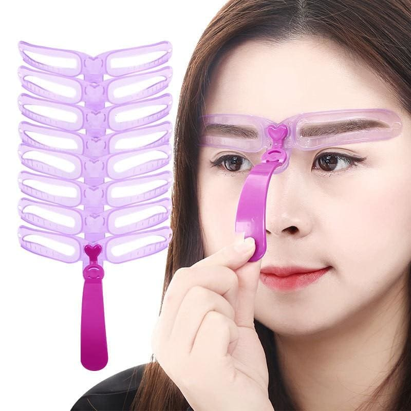 Reusable 8 in1 Eyebrow Shaping Template Helper Eyebrow Stencils Kit Grooming Card Eyebrow Defining - My Web Store Shopping