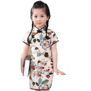 Load image into Gallery viewer, Rose Floral Baby Girls Qipao Dress Chinese Traditional Chi-pao Fashion New Year Children Dresses - My Web Store Shopping
