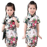 Rose Floral Baby Girls Qipao Dress Chinese Traditional Chi-pao Fashion New Year Children Dresses - My Web Store Shopping