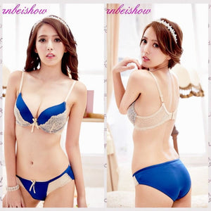 Load image into Gallery viewer, Sexy For Womens Padded Underwear Embroidery Lace Lingerie Female New Bra+Brief Set Push Up Bra - My Web Store Shopping