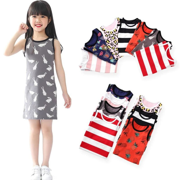 SheeCute Girls' Toddler & Kid Knit SleeveLess A-Line T-Shirt Dresses SDS659 - My Web Store Shopping