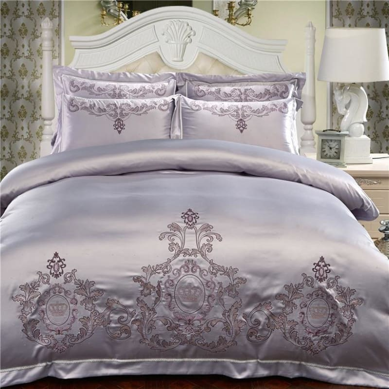 Silver Cotton Embroidery Bedding Sets Queen King size Luxury Red Wedding Duvet cover Bed sheet/linen set Pillowcase - My Web Store Shopping