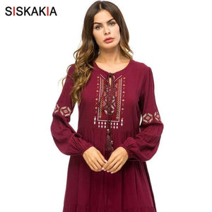 Load image into Gallery viewer, Embroidery Long Dress Spring Autumn Women's Casual Maxi Dresses Long Sleeve Draped Swing Burgundy - My Web Store Shopping