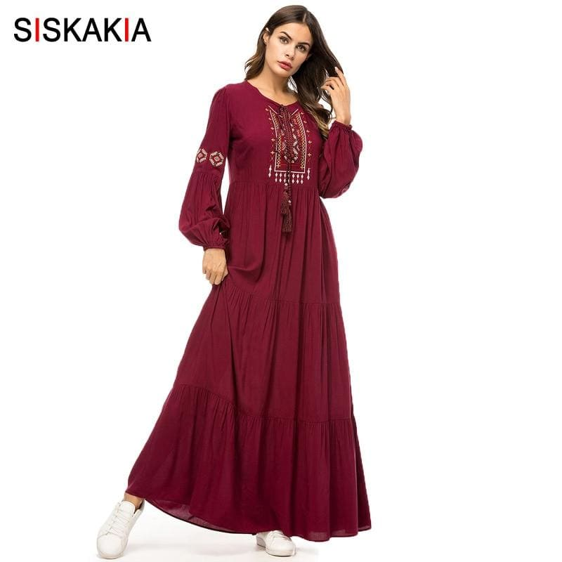 Embroidery Long Dress Spring Autumn Women's Casual Maxi Dresses Long Sleeve Draped Swing Burgundy - My Web Store Shopping