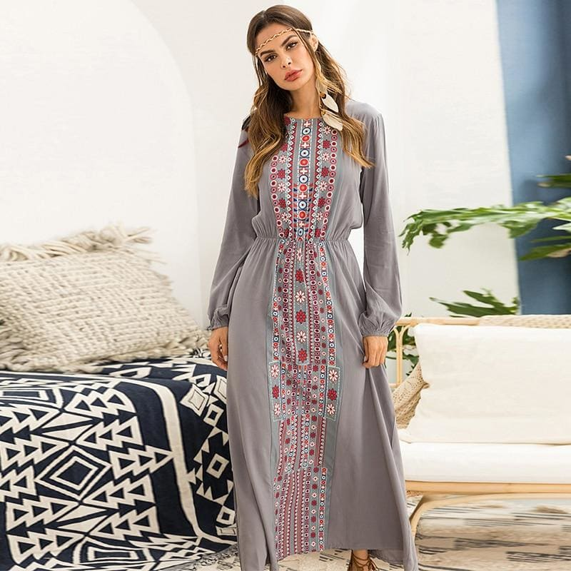 Women long Dress Fashion Ethnic Printing Maxi Dresses long sleeve Beach Holiday Vocation Wears Gray - My Web Store Shopping