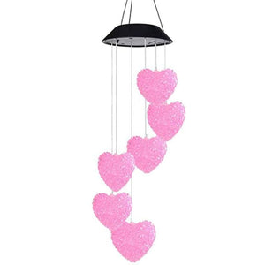 Load image into Gallery viewer, Solar Powered Wind Chime Light Heart Shape LED Garden Hanging Spinner Lamp Color Changing Lights - My Web Store Shopping