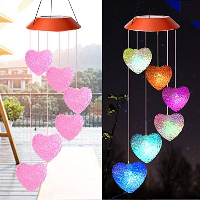 Solar Powered Wind Chime Light Heart Shape LED Garden Hanging Spinner Lamp Color Changing Lights - My Web Store Shopping