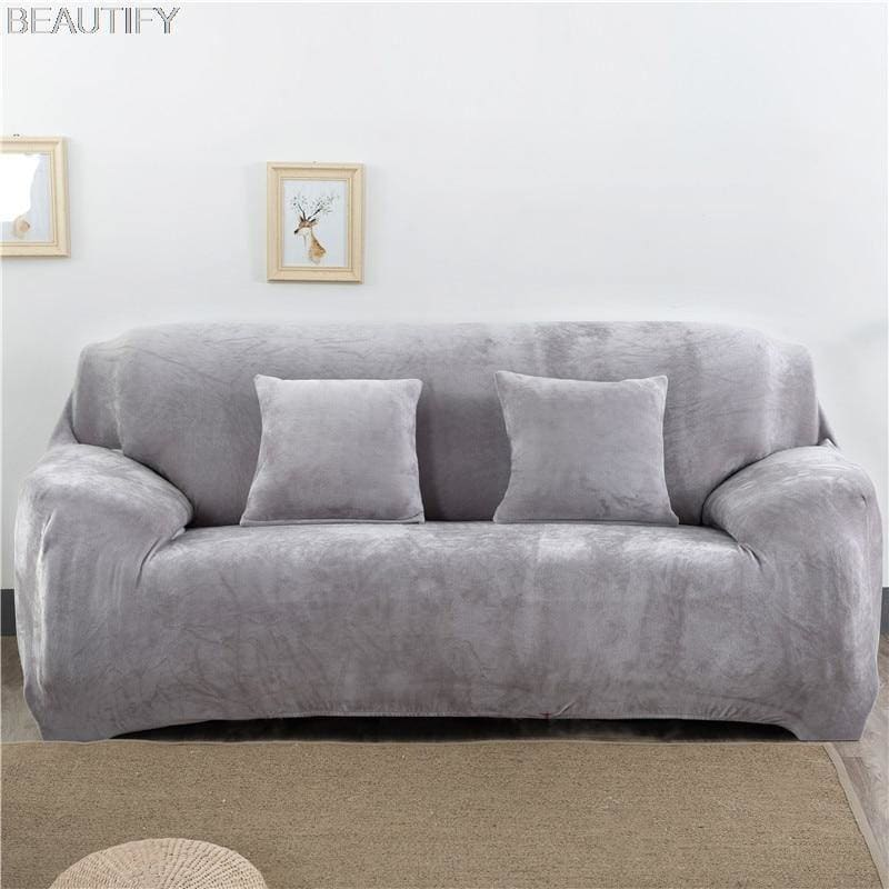 Solid Color Plush Thicken Elastic Sofa Cover Universal Sectional Slipcover Stretch Couch Cover for Living Room 1/2/3/4 seater - My Web Store Shopping