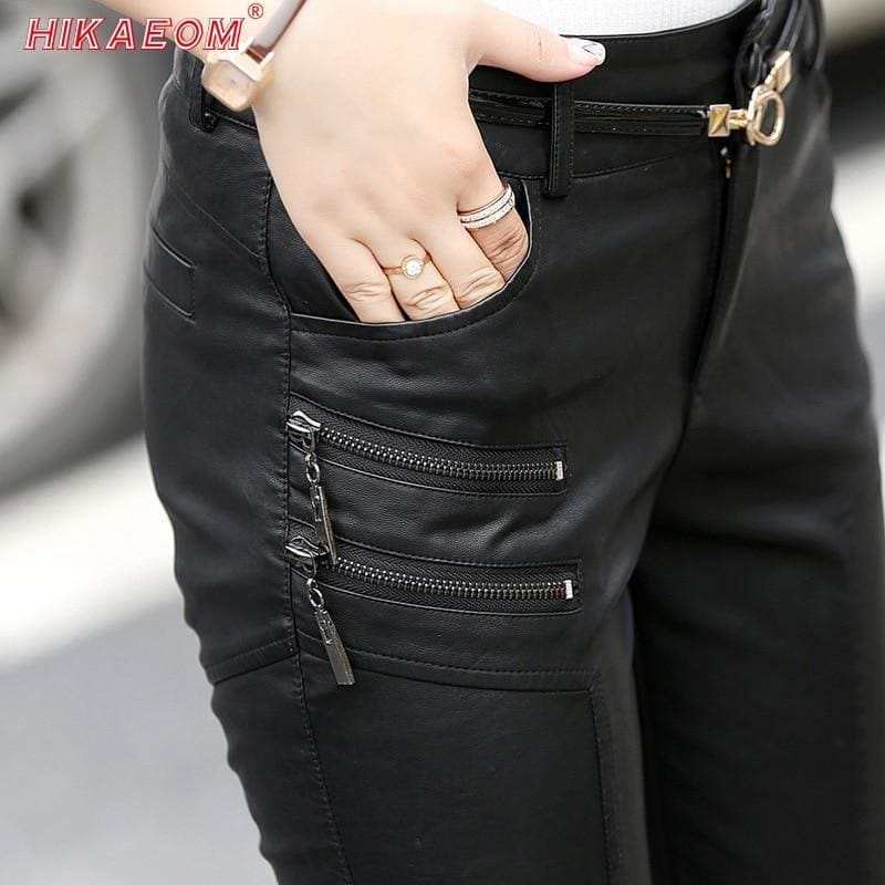 Spring Autumn Casual Leather Pants Lady Hot Slim PU Leather Stylish Zipper Fashion Pencil Skinny - My Web Store Shopping