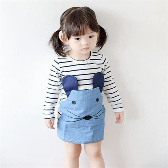 Striped Patchwork Character Girl Dresses Long Sleeve Cute Mouse Children Clothing Kids Girls Dress - My Web Store Shopping