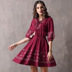 New Cotton Vestidos V-Neck Half Sleeve Vintage Embroidery A-line Red Dresses Female - My Web Store Shopping