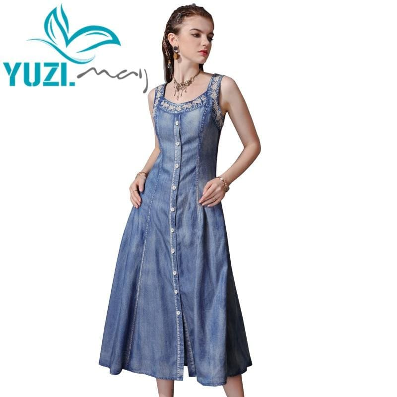 Load image into Gallery viewer, Summer Dress New Denim Women Dresses Square Collar Sleeveless Single Breasted Female - My Web Store Shopping