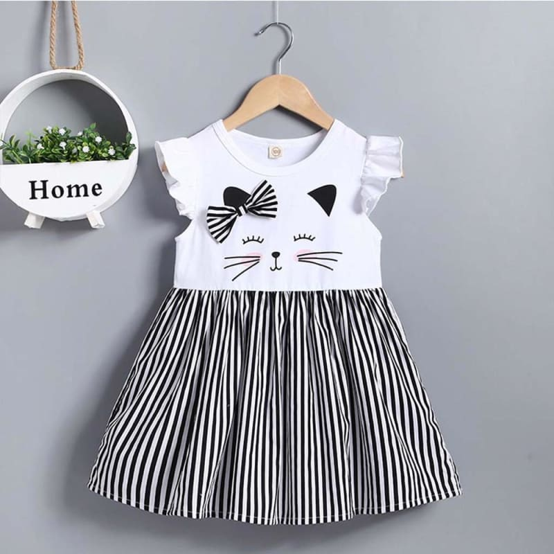 Fashion Girl Dress Toddler Kid Baby Girl Clothes Sleeveless Cat Printed Striped Princess Dress - My Web Store Shopping