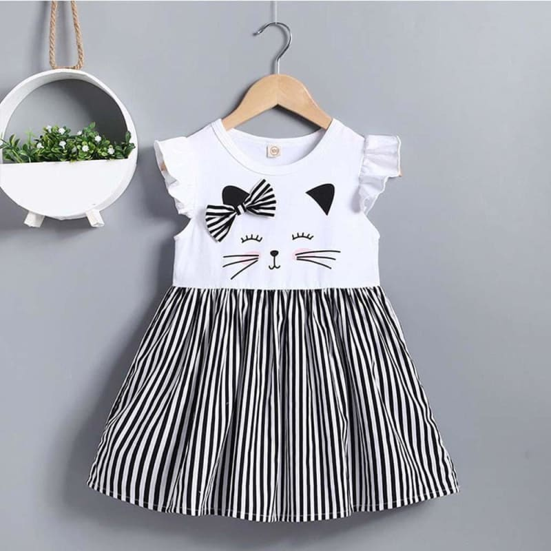 Load image into Gallery viewer, Fashion Girl Dress Toddler Kid Baby Girl Clothes Sleeveless Cat Printed Striped Princess Dress - My Web Store Shopping