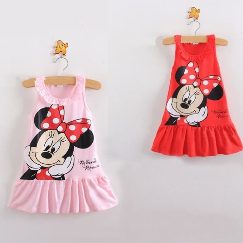 Summer Girls Dress Minne Kids Girls Clothes Cute Hello Kity Cartoon Pattern Baby Girl Princess Dress - My Web Store Shopping