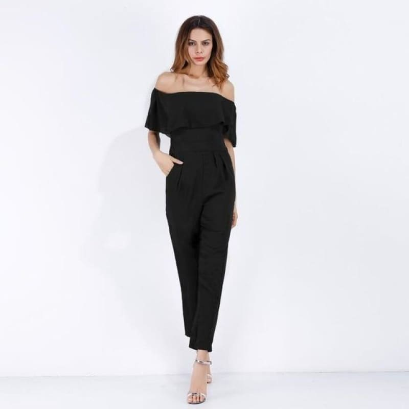 Load image into Gallery viewer, Summer Jumpsuit Women Pattern Print Ruffle Off Shoulder Sexy Jumpsuit Casual Chiffon Elegant - My Web Store Shopping