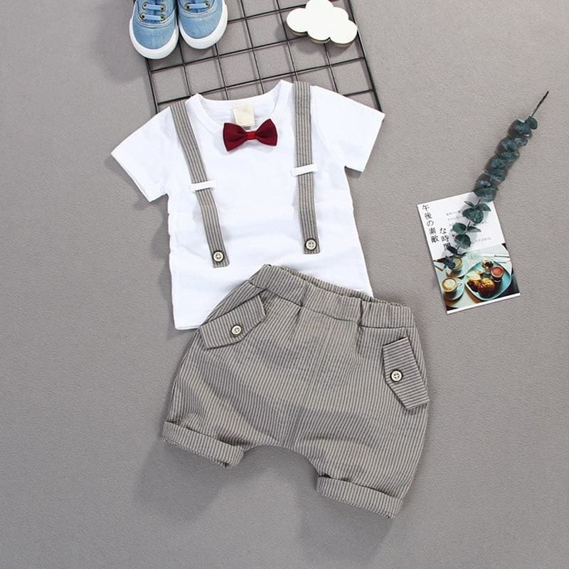 Boys Bow Clothes Sets Baby Gentleman High Quality Short T shirt Pants Toddler Boy Clothing Casual - My Web Store Shopping