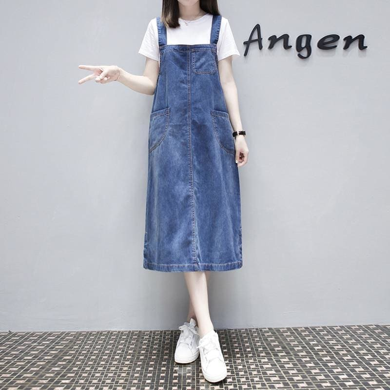 Summer Women Cotton Denim Maxi Dress Plus Size Long Casual Sleeveles Strap Jeans Ladies Dresses Large Size Sundress Frocks - My Web Store Shopping