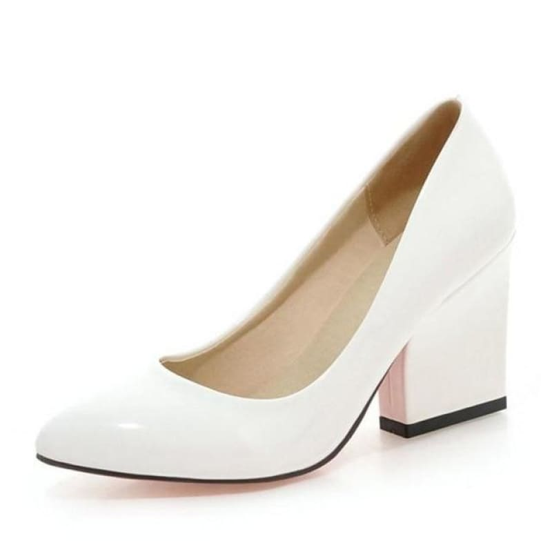 Load image into Gallery viewer, Women'S Thick High Heels Pumps Shoes Women Slip On Office Wedding Pointed Toe 5 Colors Footwear - My Web Store Shopping