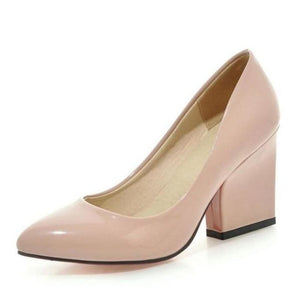 Women'S Thick High Heels Pumps Shoes Women Slip On Office Wedding Pointed Toe 5 Colors Footwear - My Web Store Shopping