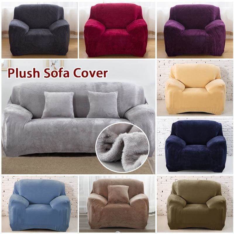 Thick Plush Elastic Sofa Cover Cotton Solid Color Sectional Slipcover Stretch Anti-dirty Couch Cover Sofa Cover for Living Room - My Web Store Shopping