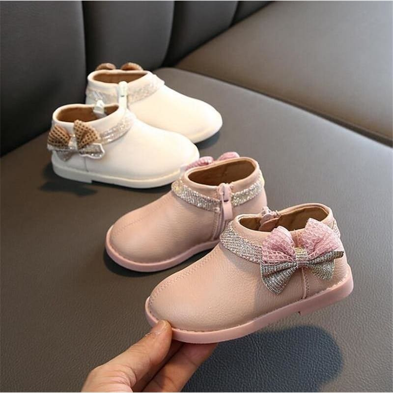 Toddler girls shoes PU leather bow tie princess shoes pink baby girl party shoes beige baby - My Web Store Shopping