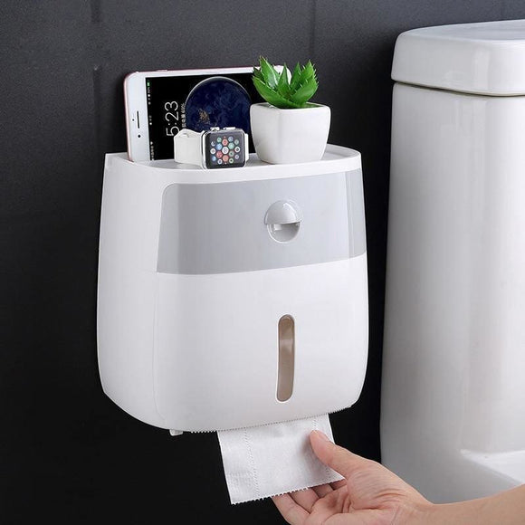 Toilet Paper Holder Wall Mounted Paper Tissue Dispenser Multi-function Plastic  Holder - My Web Store Shopping