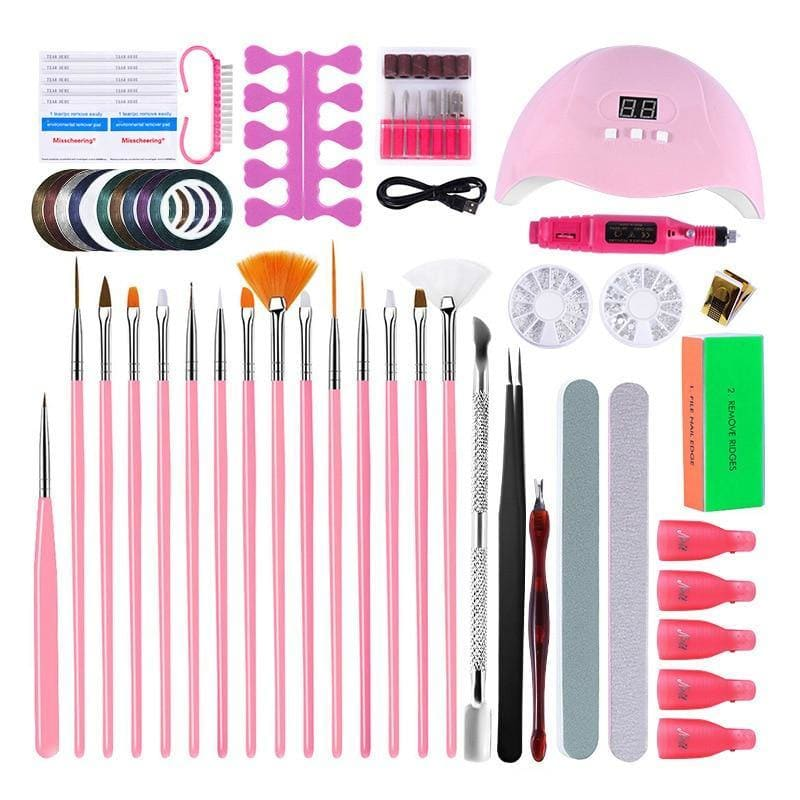 UV Lamp nail tools Polish gel nails set with lamp Nail brush pen kit Drawing Diamond ornament Decoration polishing manicure DIY - My Web Store Shopping