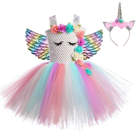Unicorn Dress Princess Baby Girls Dresses For Girls Cosplay Rainbow Kids Birthday Halloween Unicorn Party Costume With Wings - My Web Store Shopping