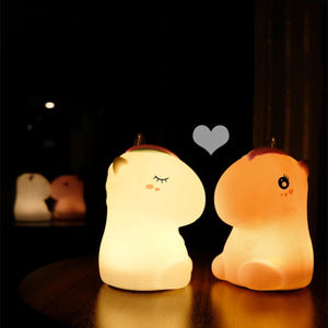 Load image into Gallery viewer, Unicorn LED Night Light Touch Sensor Colorful USB Rechargeable Cartoon Silicone Bedroom Bedside Lamp - My Web Store Shopping