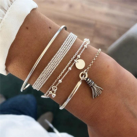 Unisex Multilayer Thick Chain Bracelets Bangles Boho Beads Sequins Bracelet Set For Women Alloy Tassel Charm Bracelet Jewelry - My Web Store Shopping