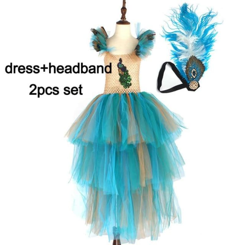 Load image into Gallery viewer, Vintage Couture Peacock Ball Gown Girls Pageant Tutu Dress with Feather Headband Kids Princess - My Web Store Shopping