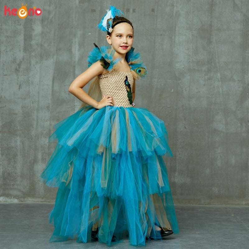 Vintage Couture Peacock Ball Gown Girls Pageant Tutu Dress with Feather Headband Kids Princess - My Web Store Shopping