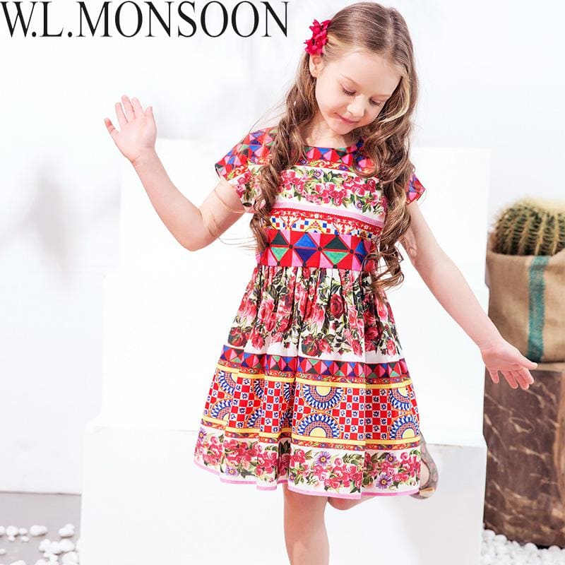 Load image into Gallery viewer, W.L.MONSOON Princess Girls Dress with Sashes 2018 Brand Children Summer Dress Flower Vestidos Kids - My Web Store Shopping