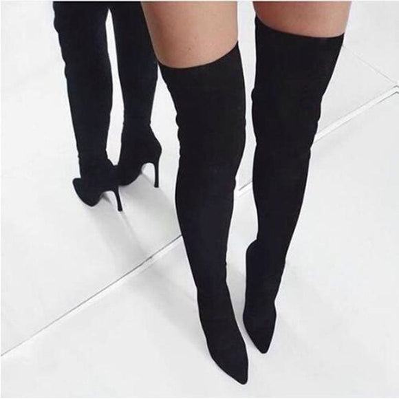 Winter Women Hot Long Boots Real Photo Apricot Black Pink Suede Pointed Toe Over The Knee Boots Thin Boots Stiletto Heels - My Web Store Shopping