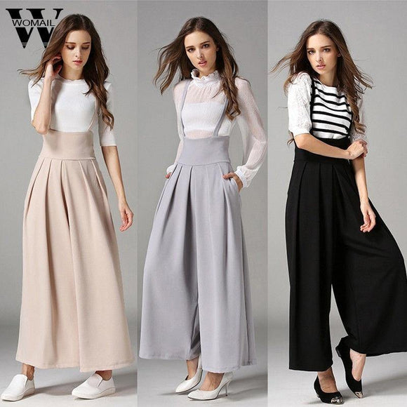 Palazzo Trousers Women Summer Casual Pleated High Waisted Wide Leg Suspenders Trousers - My Web Store Shopping