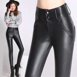 Load image into Gallery viewer, Woman Plus Size Winter Black Plus Velvet Elastic Waist Stretch Thick Pu Pencil Pants Lady Fall - My Web Store Shopping