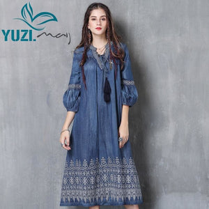 Load image into Gallery viewer, Women Dress New Denim Vestidos V-Neck Three Quarter Lantern Sleeve Flower Embroidery Dresses - My Web Store Shopping