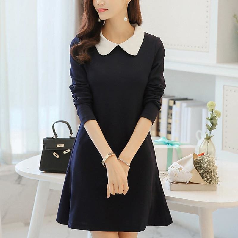 Women Dress A Line One-Piece Frock Slim Dress with Long Sleeve Turn-down Collar - My Web Store Shopping