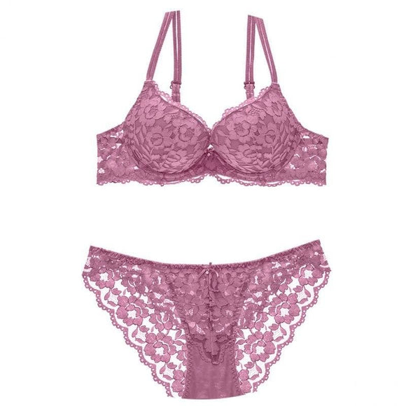 Women Lace Goddess Lingerie 2 Piece Bra and Thin Knickers Set Thick Padded Push-up Underwear Deep V - My Web Store Shopping