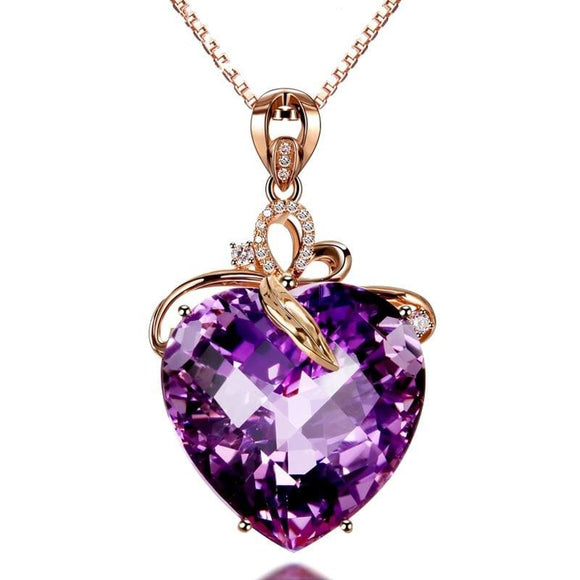 Women Necklace Pendant High Quality Heart Shape Amethyst Pendant Rose Gold Necklace Jewelry - My Web Store Shopping